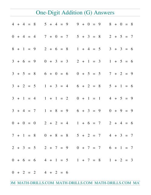 The Single Digit Addition -- 50 Horizontal Questions (G) Math Worksheet Page 2