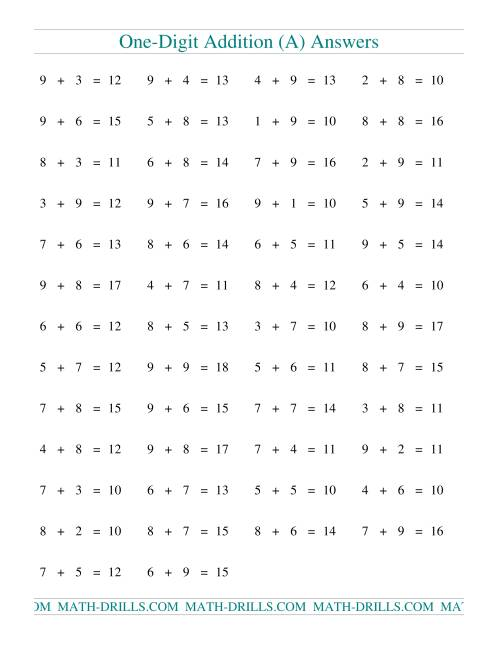The Single Digit Addition -- 50 Horizontal Questions -- All Regrouping (A) Math Worksheet Page 2