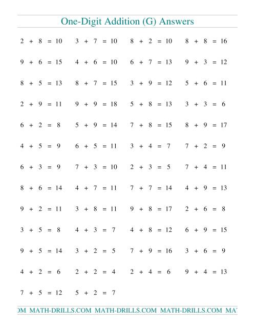The Single Digit Addition -- 50 Horizontal Questions -- Some Regrouping (G) Math Worksheet Page 2