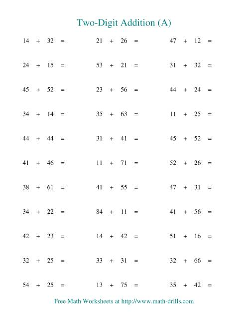The Two-Digit Addition -- Horizontal -- No Regrouping (A) Addition Worksheet