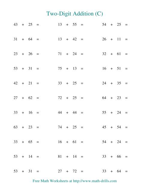 The Two-Digit Addition -- Horizontal -- No Regrouping (C) Addition Worksheet