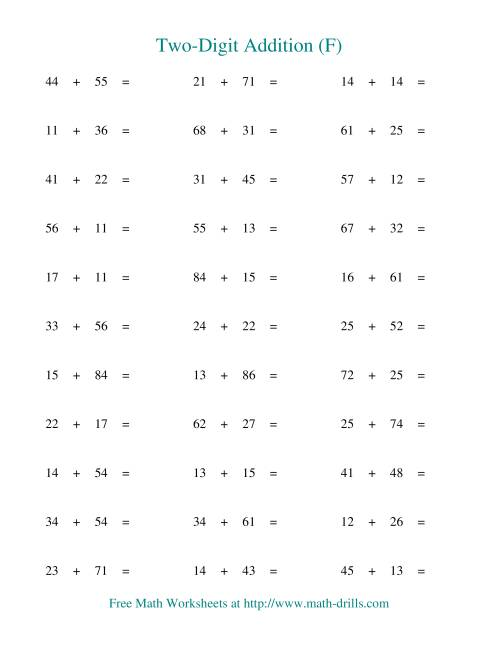 The Two-Digit Addition -- Horizontal -- No Regrouping (F) Addition Worksheet