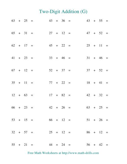 The Two-Digit Addition -- Horizontal -- No Regrouping (G) Addition Worksheet