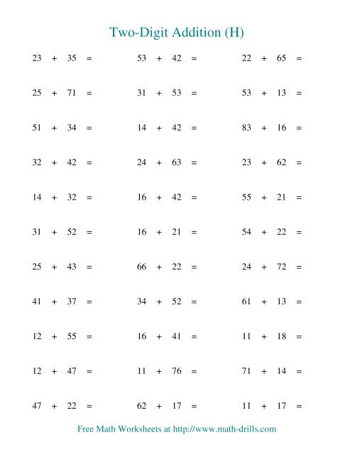 The Two-Digit Addition -- Horizontal -- No Regrouping (H) Addition Worksheet