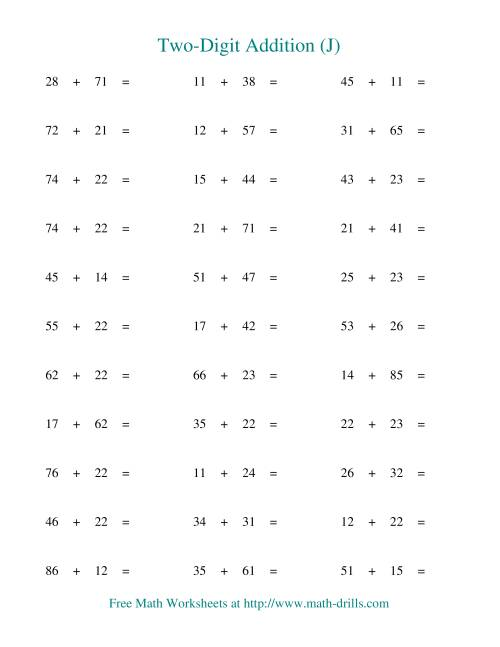 The Two-Digit Addition -- Horizontal -- No Regrouping (J) Addition Worksheet