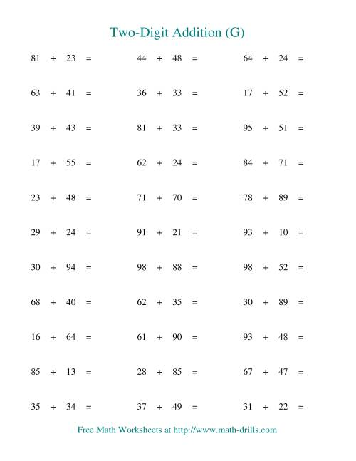 The Two-Digit Addition -- Horizontal -- Some Regrouping (G) Addition Worksheet