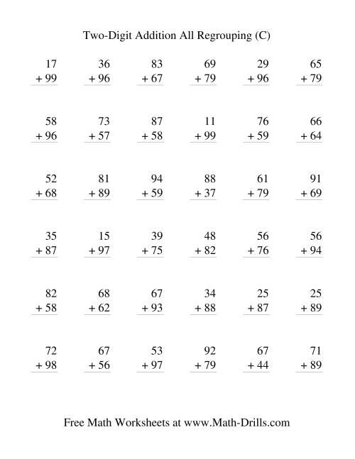 The Two-Digit Addition -- Vertical -- All Regrouping (C) Addition Worksheet