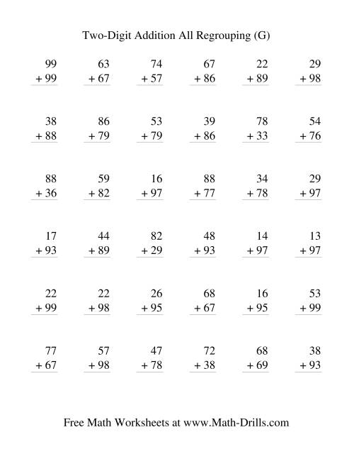 The Two-Digit Addition -- Vertical -- All Regrouping (G) Addition Worksheet