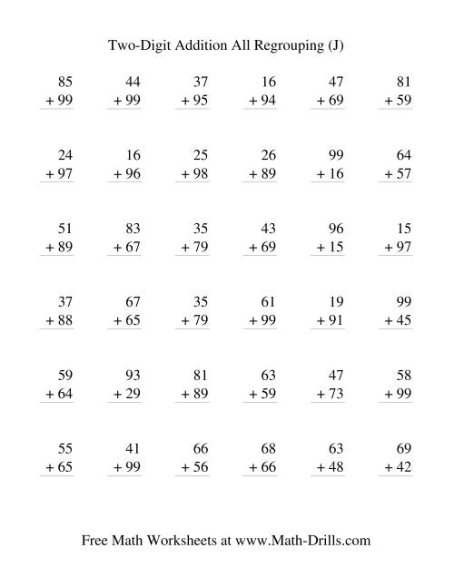 The Two-Digit Addition -- Vertical -- All Regrouping (J) Addition Worksheet