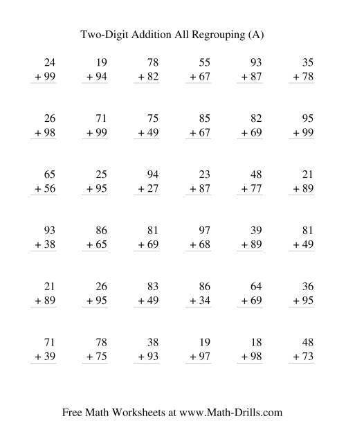 The Two-Digit Addition -- Vertical -- All Regrouping (All) Addition Worksheet