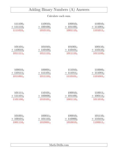 Adding Binary Numbers Base 2 A
