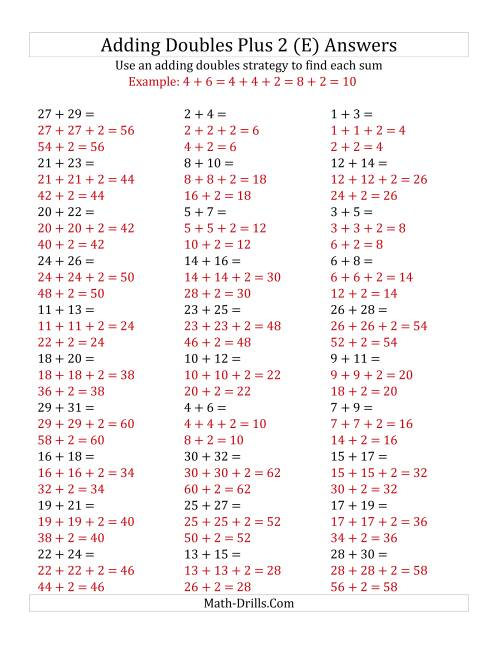 The Adding Doubles Plus 2 (Large Numbers) (E) Math Worksheet Page 2