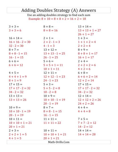 The Adding Doubles Mixed Variations (Medium Numbers) (A) Math Worksheet Page 2