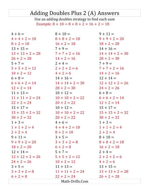 The Adding Doubles Plus 2 (Medium Numbers) (A) Math Worksheet Page 2