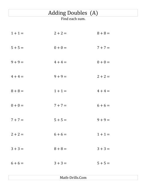 The Adding Doubles (Small Numbers) (A) Math Worksheet