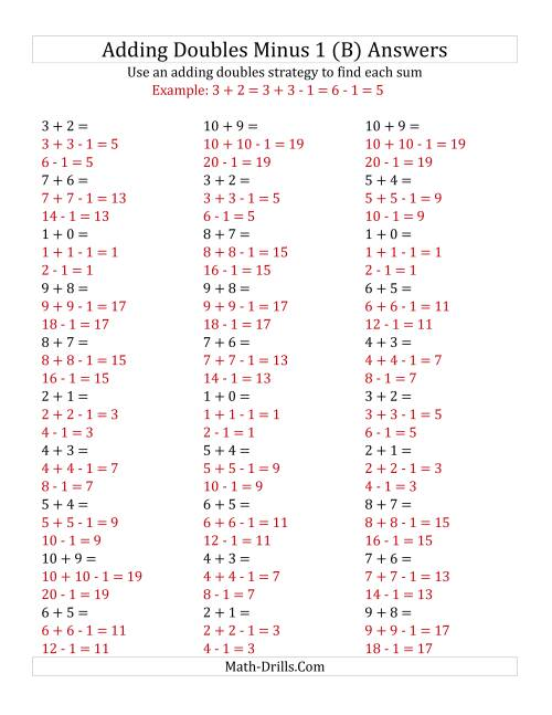 The Adding Doubles Minus 1 (Small Numbers) (B) Math Worksheet Page 2