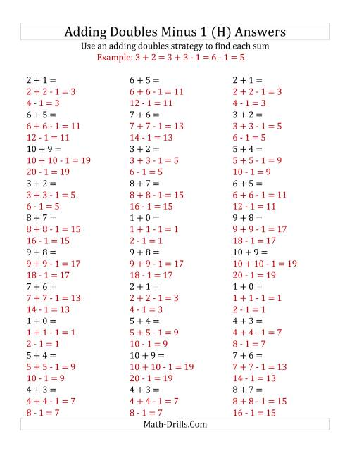 The Adding Doubles Minus 1 (Small Numbers) (H) Math Worksheet Page 2