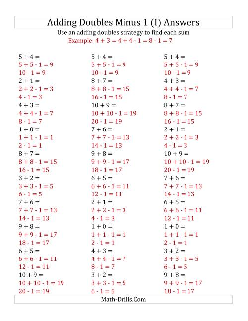 The Adding Doubles Minus 1 (Small Numbers) (I) Math Worksheet Page 2