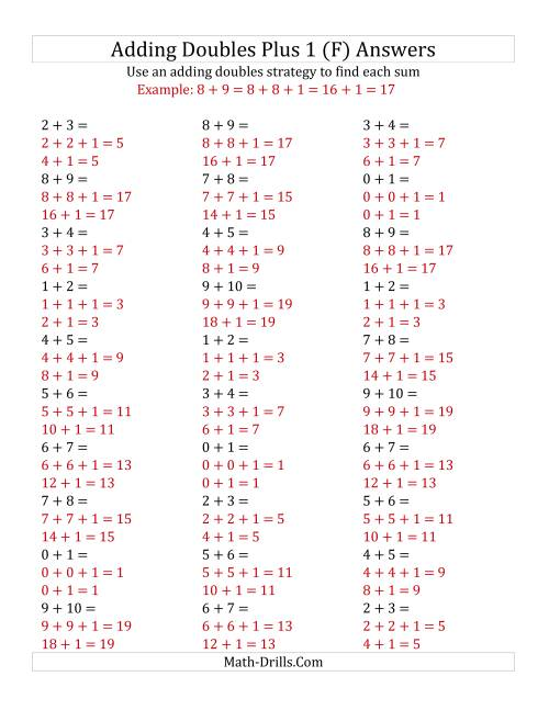The Adding Doubles Plus 1 (Small Numbers) (F) Math Worksheet Page 2