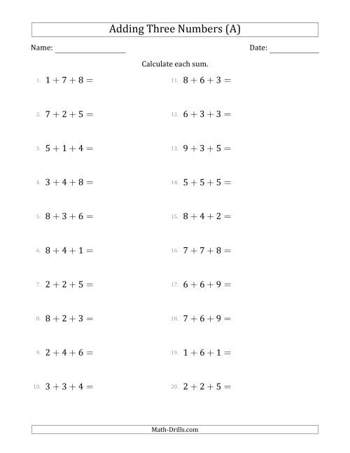 The Adding Three Numbers Horizontally (Range 1 to 9) (A) Math Worksheet