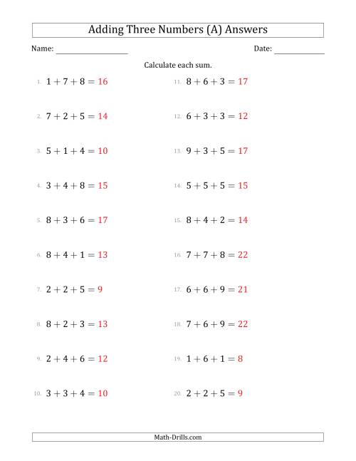 The Adding Three Numbers Horizontally (Range 1 to 9) (A) Math Worksheet Page 2