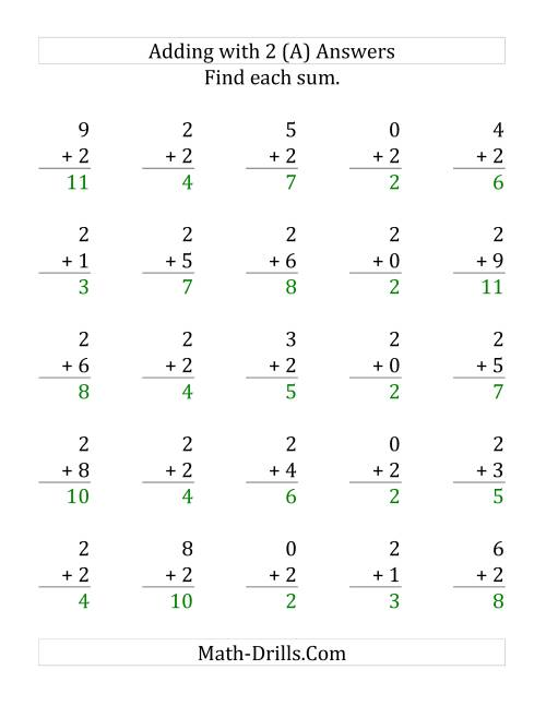 The 25 Adding Twos Questions (A) Math Worksheet Page 2