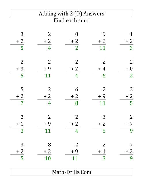 The 25 Adding Twos Questions (D) Math Worksheet Page 2