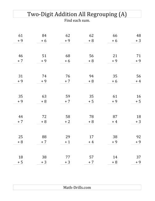 2Digit Plus 1Digit Addition with All Regrouping A Addition – Addition Two Digit Numbers Worksheet