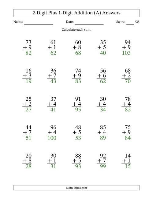 The 2-Digit Plus 1-Digit Addition with SOME Regrouping (A) Math Worksheet Page 2