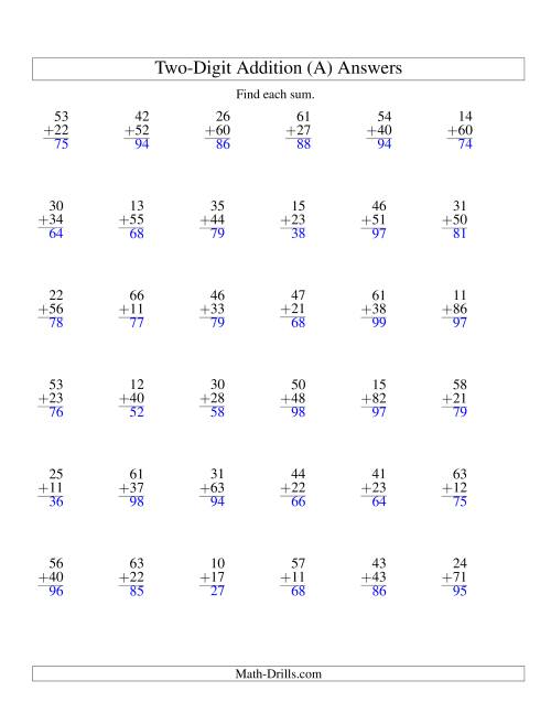 Two-Digit Addition -- No Regrouping -- 36 Questions (A)