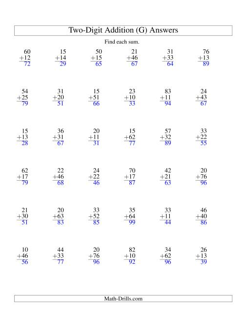 The Two-Digit Addition -- No Regrouping -- 36 Questions (G) Math Worksheet Page 2