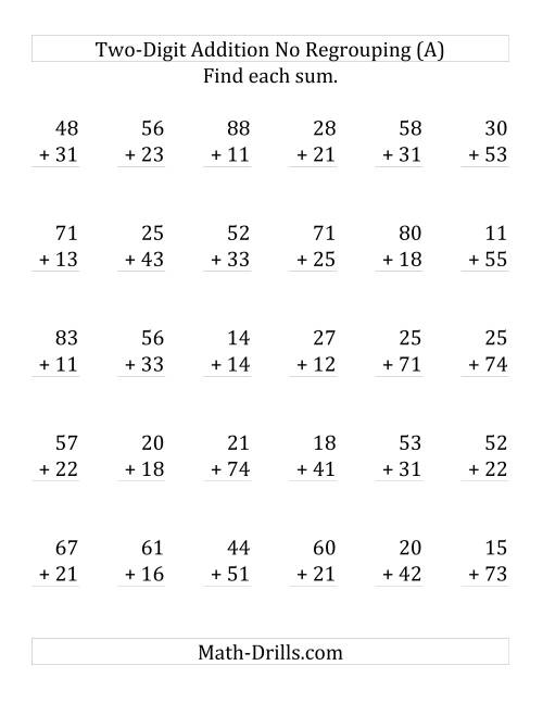 The 2-Digit Addition with No Regrouping (LP) Math Worksheet