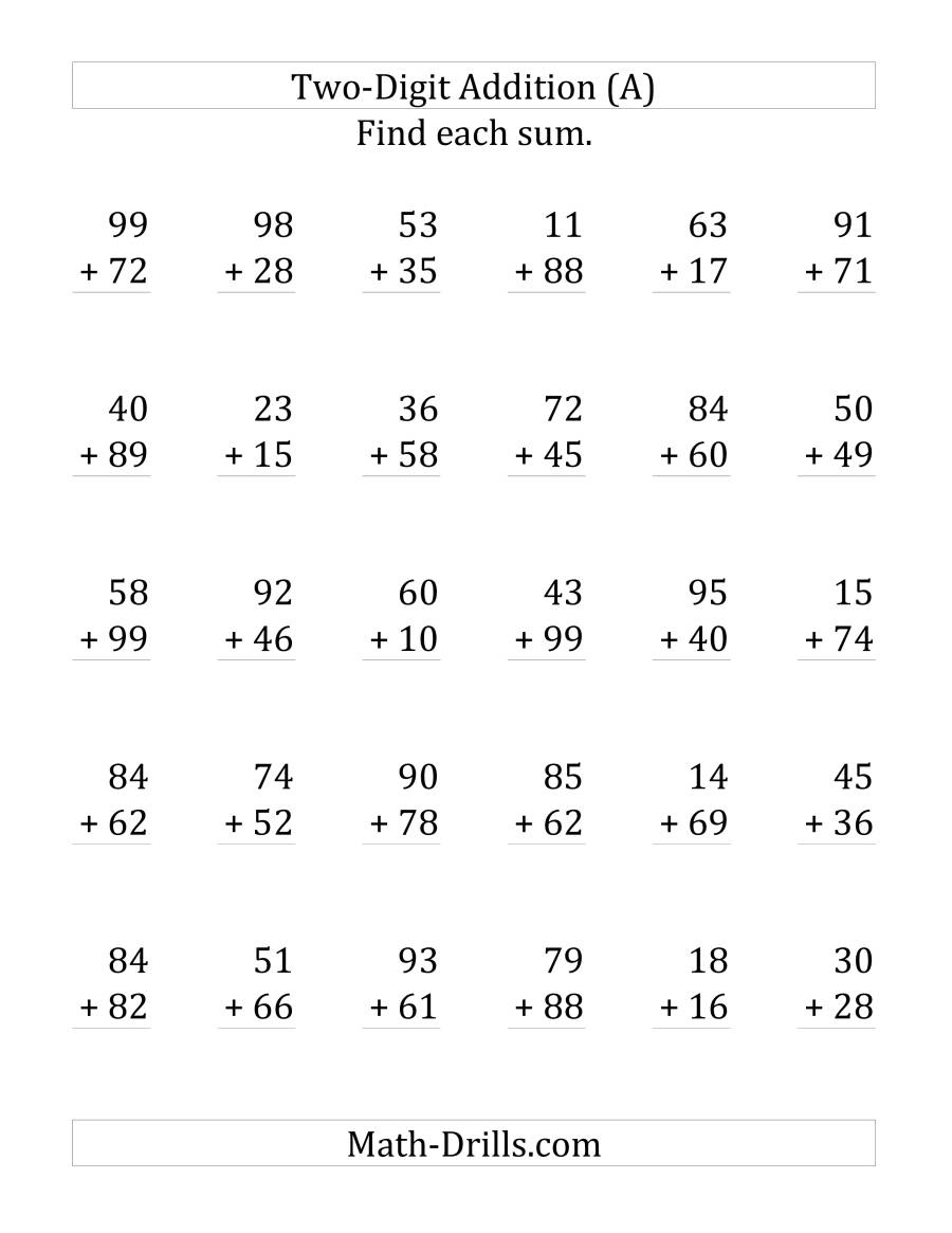 The 2-Digit Addition with Some Regrouping (LP) Math Worksheet