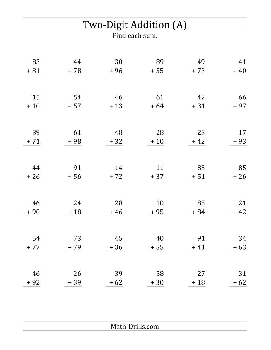 The 2-Digit Addition with Some Regrouping (Old) Math Worksheet