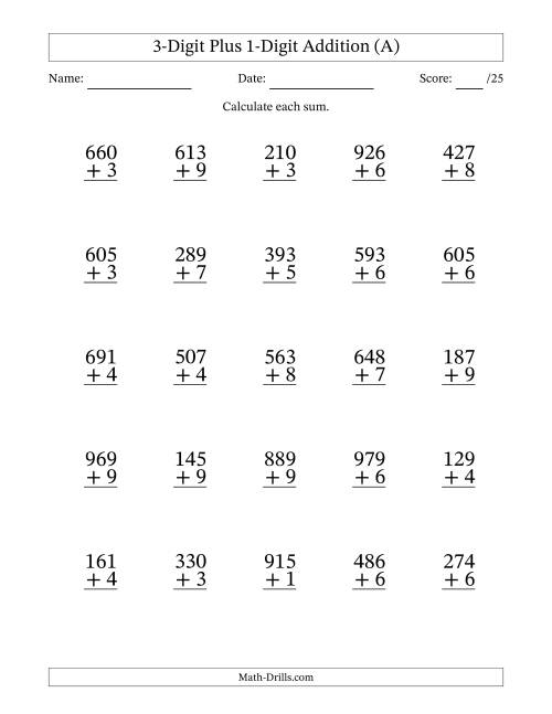 The 3-Digit Plus 1-Digit Addition with SOME Regrouping (A) Math Worksheet
