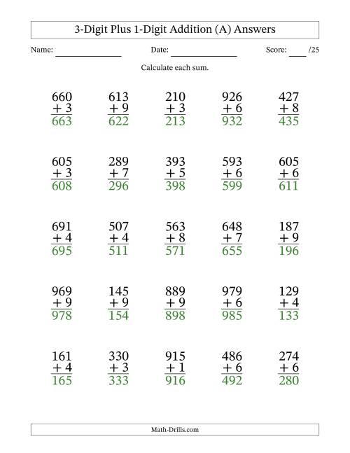 The 3-Digit Plus 1-Digit Addition with SOME Regrouping (A) Math Worksheet Page 2