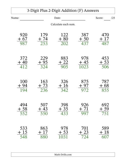 The 3-Digit Plus 2-Digit Addition with SOME Regrouping (F) Math Worksheet Page 2