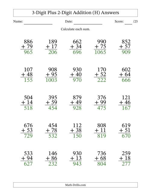 The 3-Digit Plus 2-Digit Addition with SOME Regrouping (H) Math Worksheet Page 2