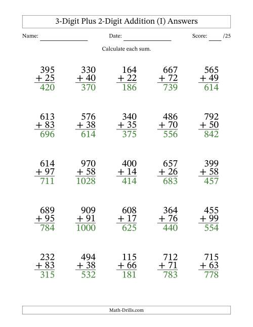 The 3-Digit Plus 2-Digit Addition with SOME Regrouping (I) Math Worksheet Page 2