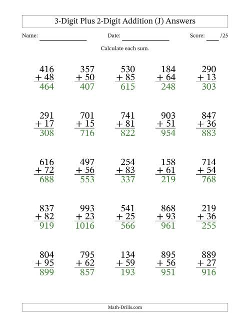 The 3-Digit Plus 2-Digit Addition with SOME Regrouping (J) Math Worksheet Page 2
