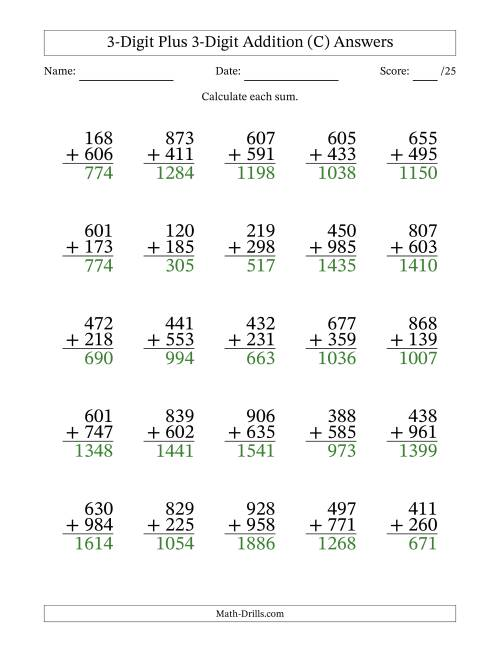 The 3-Digit Plus 3-Digit Addition with SOME Regrouping (C) Math Worksheet Page 2