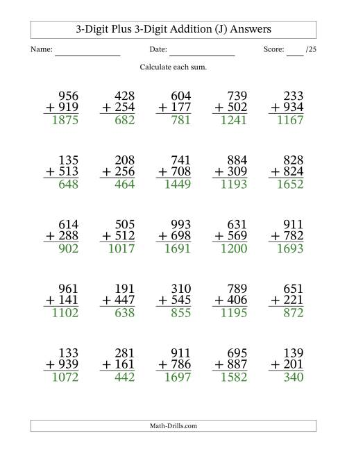 The 3-Digit Plus 3-Digit Addition with SOME Regrouping (J) Math Worksheet Page 2