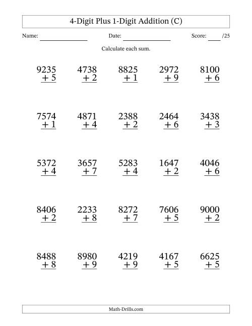 The 4-Digit Plus 1-Digit Addition with SOME Regrouping (C) Math Worksheet