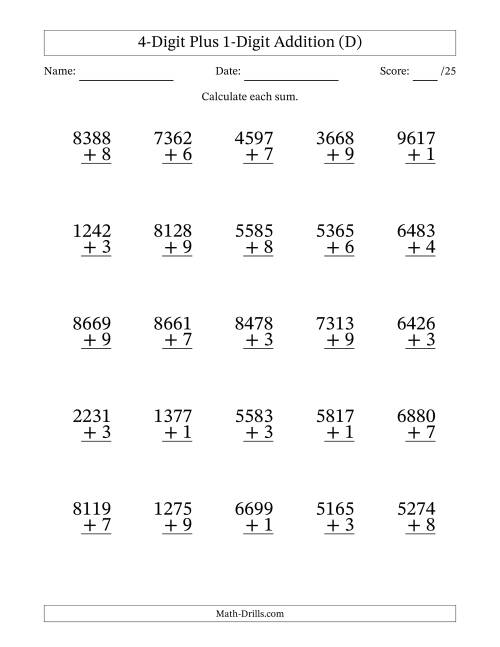 The 4-Digit Plus 1-Digit Addition with SOME Regrouping (D) Math Worksheet