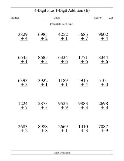 The 4-Digit Plus 1-Digit Addition with SOME Regrouping (E) Math Worksheet