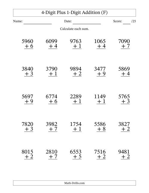 The 4-Digit Plus 1-Digit Addition with SOME Regrouping (F) Math Worksheet