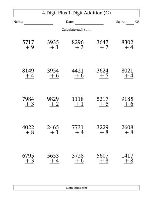 The 4-Digit Plus 1-Digit Addition with SOME Regrouping (G) Math Worksheet