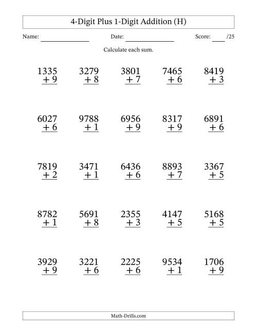 The 4-Digit Plus 1-Digit Addition with SOME Regrouping (H) Math Worksheet