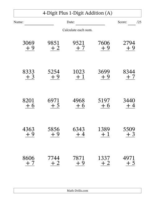 The 4-Digit Plus 1-Digit Addition with SOME Regrouping (All) Math Worksheet