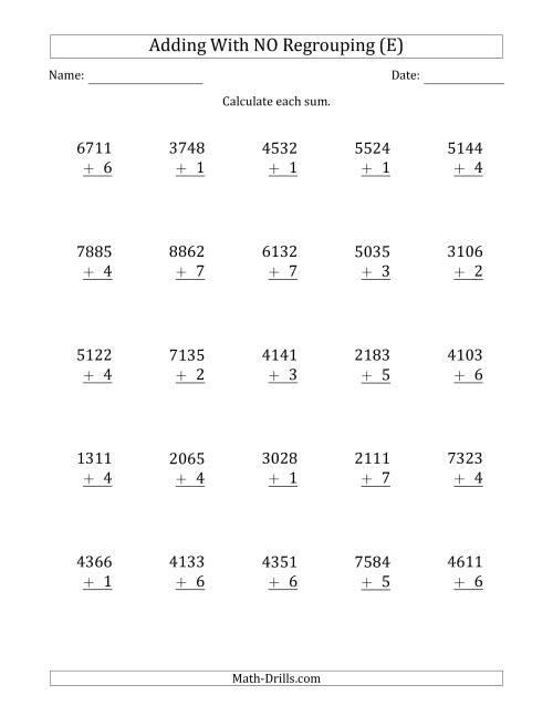 The 4-Digit Plus 1-Digit Addition with NO Regrouping (E) Math Worksheet
